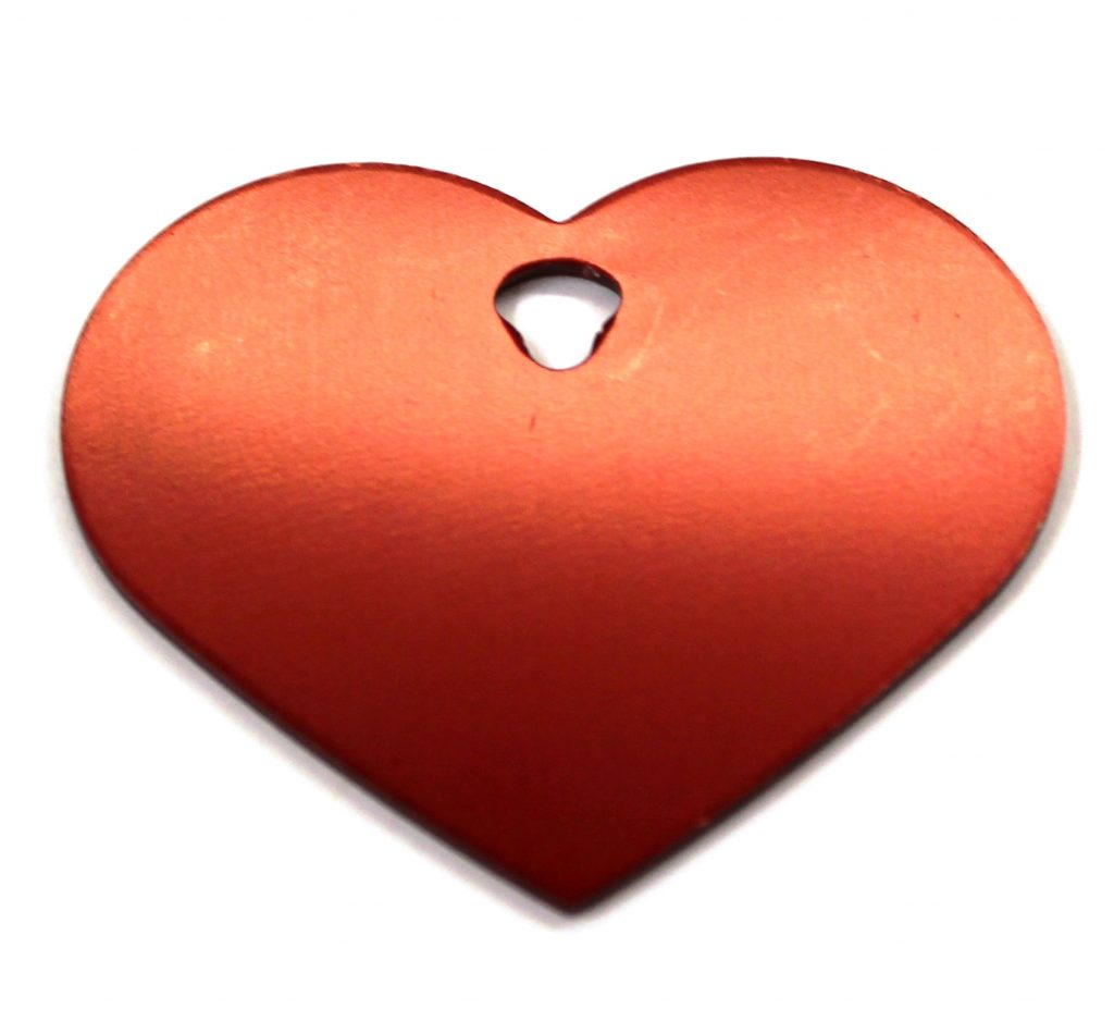 Large Red Heart ID Tag